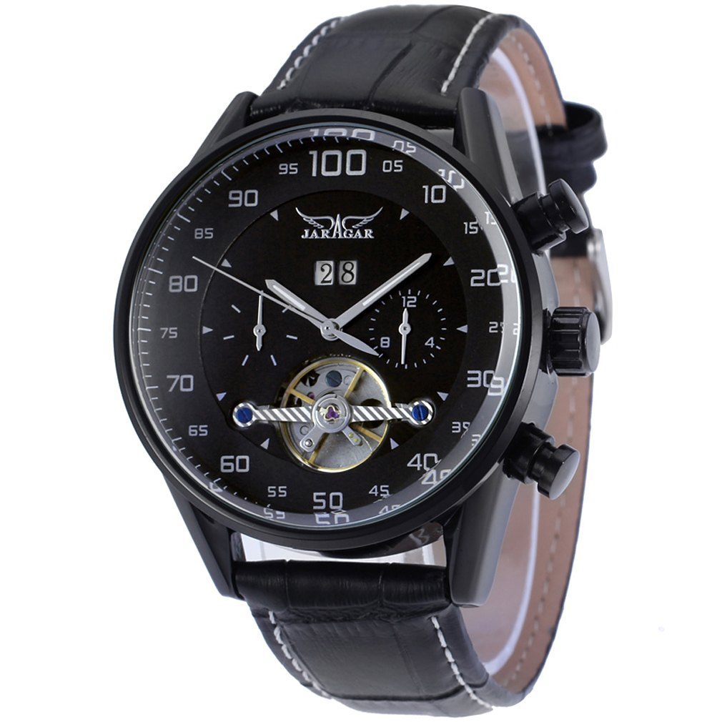 JARAGAR Fashion Brand Casual Male Clock Military Business Skeleton Automatic Mechanical Sport Men Luxury Dress Wrist Watch fashion fngeen brand simple gridding texture dial automatic mechanical men business wrist watch calender display clock 6608g
