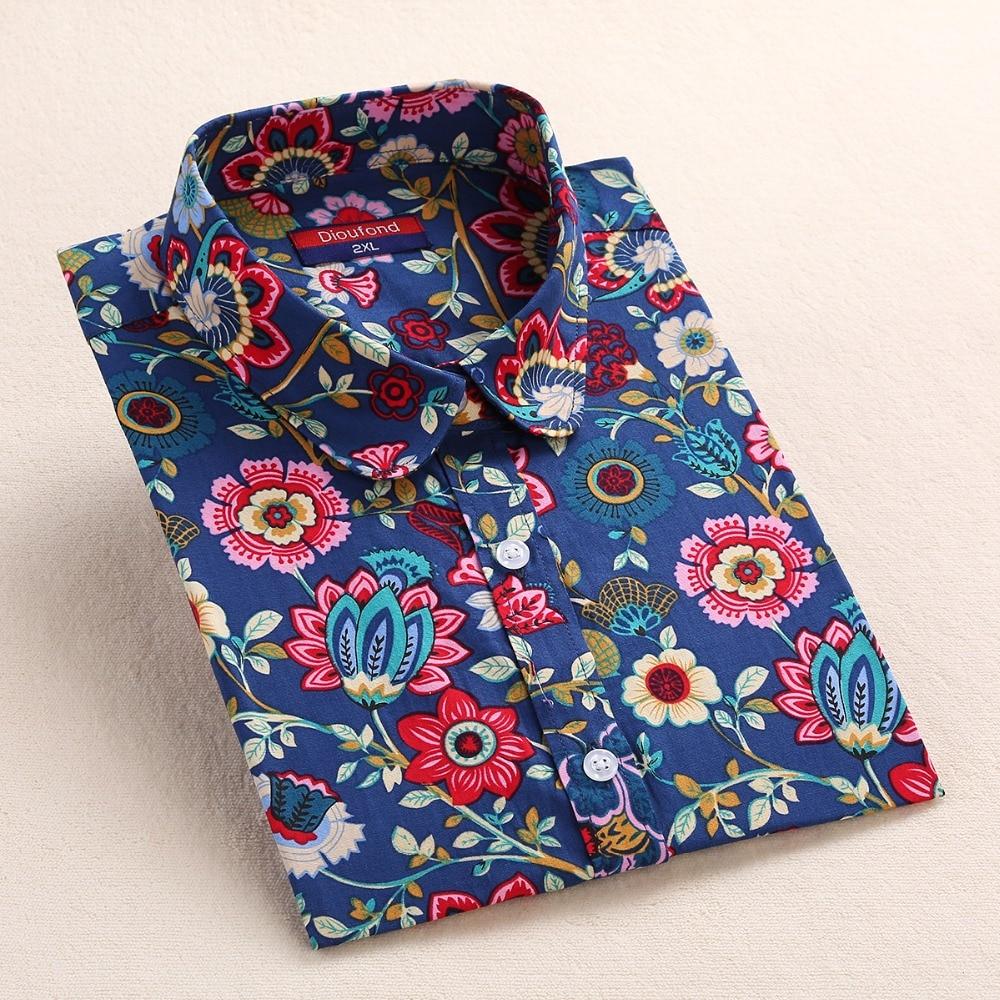 Dioufond Yaz Çiçek Bluz Gömlek Kadınlar Uzun Kollu Pamuk Gömlek - Bayan Giyimi - Fotoğraf 4