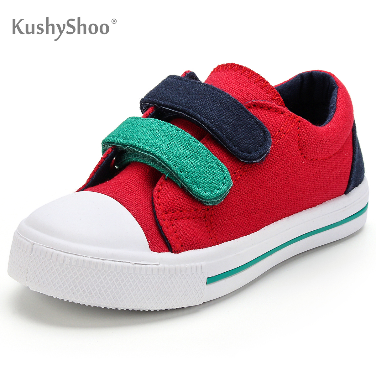 KushyShoo Toddler Sneakers Kids Girls Soft Sports Shoes Red Double Hook Kid Shoes Boys Sneakers Canvas Shoes Children
