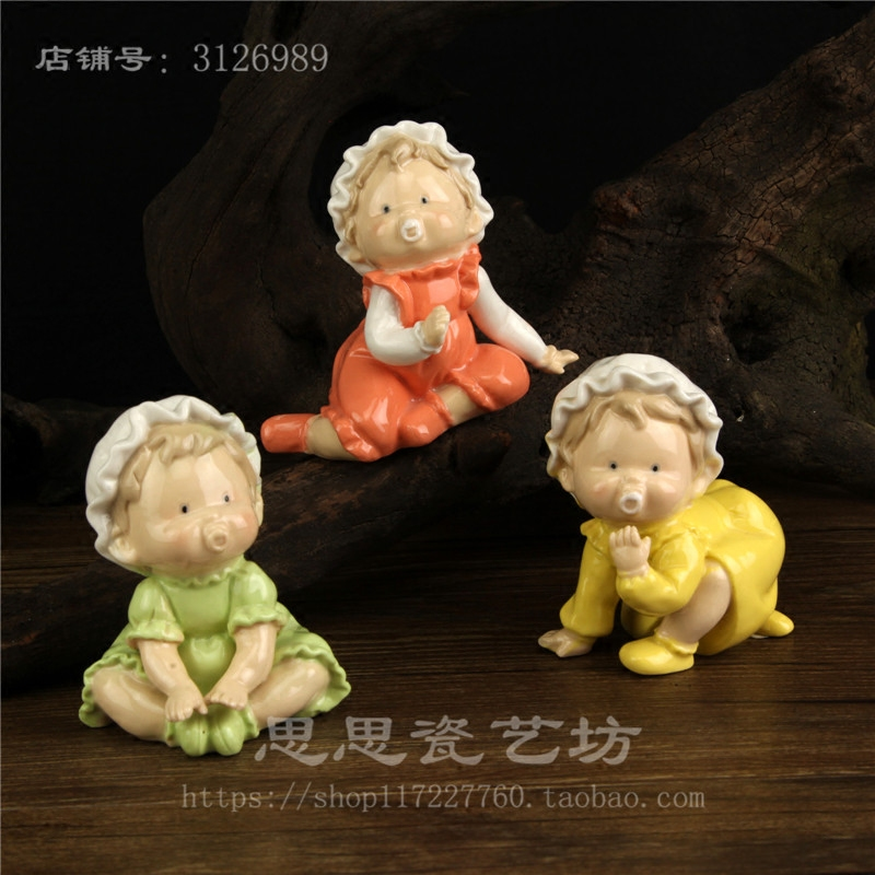 mini ceramic cute nipple Kids Room boy baby creative home decor crafts room decoration handicraft figurine wedding decoration