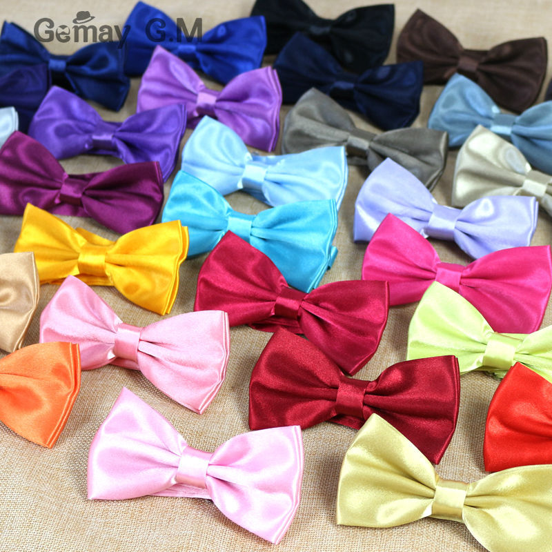 Newest Classic Solid color Bowtie for man 36colors Neckwear Adjustable Man Wedding BowTie Polyester Bowties for man(China)