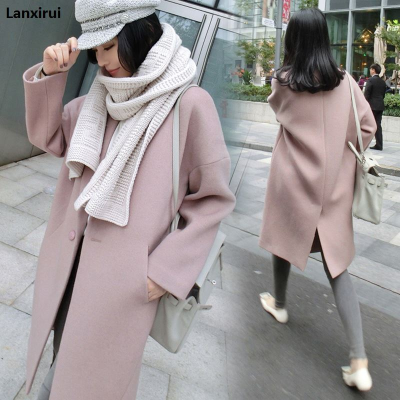 New 2018 spring autumn women jacket long   coats   female Blends woolen warm overcoat ladies Fashion casual   coats   AC345