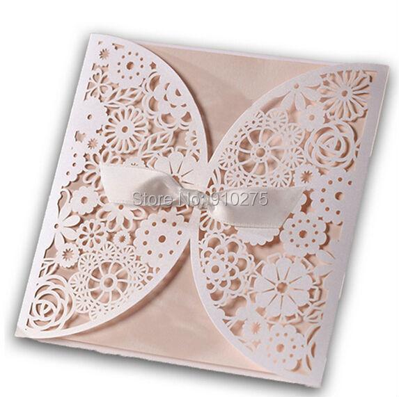 50pcs white laser cut lace flower wedding invitation template invite 50pcs white laser cut lace flower wedding invitation template invite cards with white bows stopboris Gallery