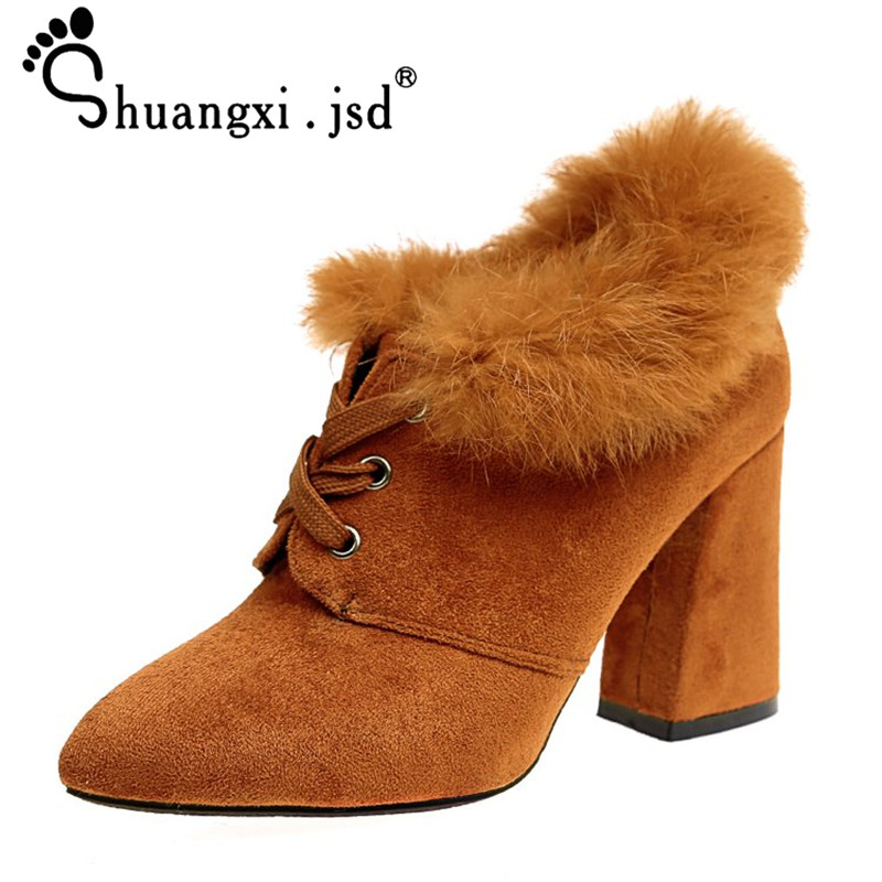big size fashion scarpe donna tacco alto sexy flock ankle wrap zapatos mujer chaussure femme women high heel women shoes sandals Boots Women 2017 Winter Fashion Woman Boots Sexy Suede High Heel Women Shoes Normal Size 35-39 Zapatos Mujer Chaussure Femme
