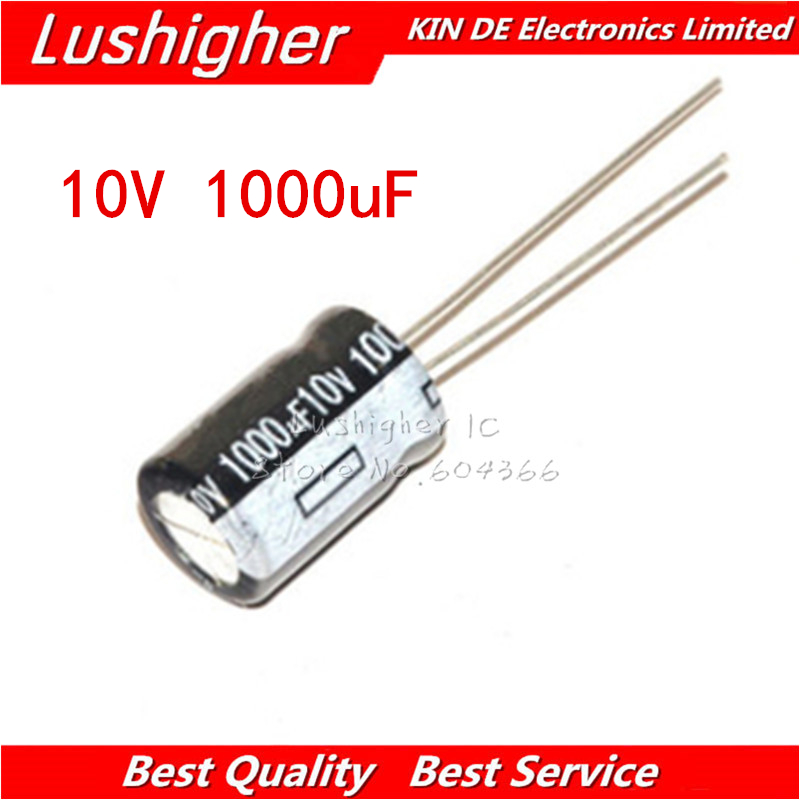 20PCS 10V1000UF 8*12mm 1000UF 10V 8x12 Mm Aluminum Electrolytic Capacitor DIP
