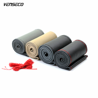 3size Soft Genuine Leather Steering Wheel Cover Soft Sew Steering Cover OEM Classical Double Thread Car