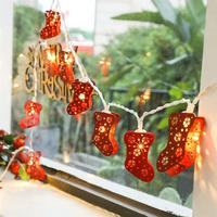 2CM Or 3CM Christmas String Light Cute Stocking 20 LED Fairy String Light For Xmas Party Wedding New Year Decoration Lights