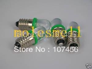 Free shipping 10pcs GREEN E10 6V Led Bulb Light Lamp for LIONEL 1447