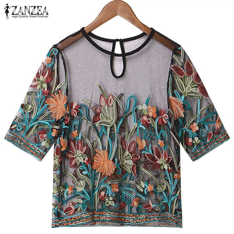 ZANZEA Women 2019 Summer Tops Vintage Sexy Mesh Embroidery Floral   Blouses     Shirts   Casual Loose Short Sleeve Oversized Plus Size