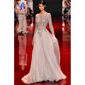 Alta Calidad Atractiva de Espalda Abierta de Plata Vestido de Noche de Gasa de Manga Larga Vestidos de Baile Por Encargo