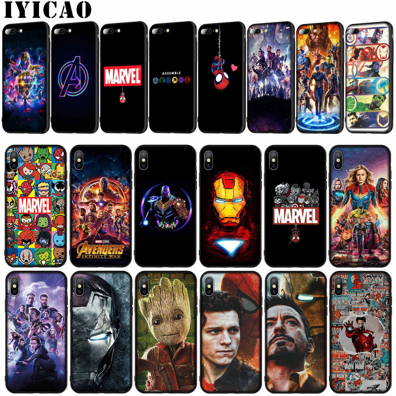 IYICAO Avengers Endgame Marvel Iron Man Thanos Soft Phone Case for iPhone XR X XS Max 6 6S 7 8 Plus 5 5S SE Tom Holland Cover