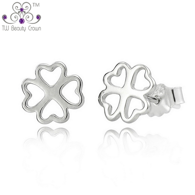 89db25d61 100% Real Solid 925 Pure sterling Silver Lovely 4 Leaf Clover Heart Stud  Earrings For Young Lady Women Fashion Korean Jewelry