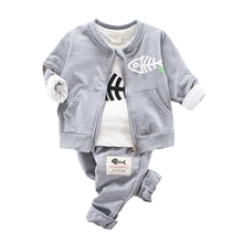 3pcs/set Spring Autumn Kids Clothes For Boys Baby Boy Cotton Long Sleeve Stripe T-shirt Tops+Hooded Vest Sweatshirt+Trousers