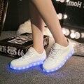 Lo nuevo 2017 Simulación LED Zapatos Para Adultos de los hombres de Moda Casual zapatos de Los Hombres de la Alta Calidad USB Led 7 colores led zapatos