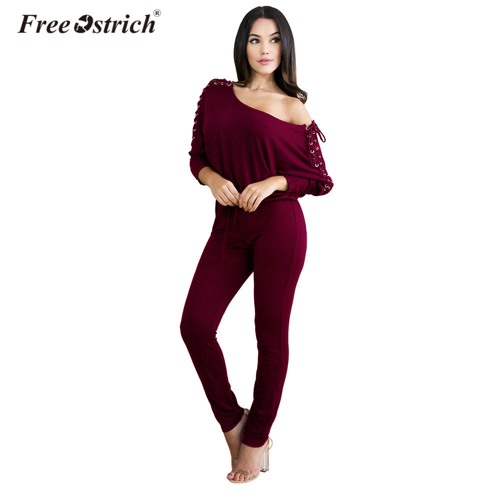 5503d84c5fa Free Ostrich Jumpsuits Women Sexy Solid Casual 2019 Lace Up Off Shoulder  Long Sleeve Rompers Womens