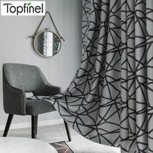 Topfinel Irregular Stripes Thermal Insulated Blackout Window Treatment Thick Black Curtains For Living Room Bedroom Decorative