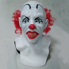 Hot Selling Funny Halloween Prop Latex costume Scary Joker Clown Mask with Red Hair