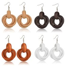 Women Simple Wild Wood Earrings Fashion Lady Charming Personality Wooden Pendant Long Round Spiral Earring Jewelry New