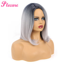 Plecare Ombre Silver Gray High Density Temperature Synthetic Pruiken Wig For Black/White Women Glueless Short Wig Cosplay(China)