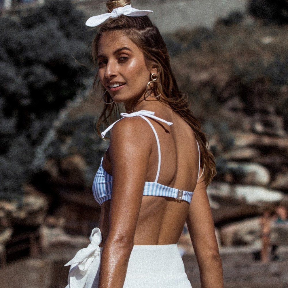 2019 Blue Stripe Bikini Split Sexy Cute Bikini two pieces swimsuit Beach Swimwear Women Bikini Set Bathing Suit swim biquini 2