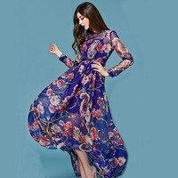 2016 Lato New Fashion Street Kobiety Eleganckie Przezroczyste Długim Rękawem Sowa Zwierząt Drukowane Szyfon Fioletowy Sukienka Midi