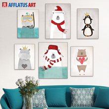 Minimalist Nordic Cartoon AnimalsPoster Print Vintage Picture Canvas Painting Wall Art Home Decor Living Room