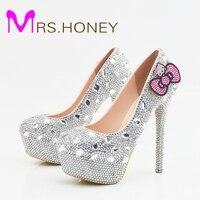 Hello Kitty Silver Rhinestone Bridal Wedding Shoes Graudation Party Prom High Heel Shoes Formal Dress Pumps