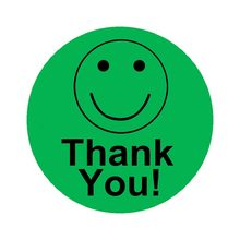 2 Inch Diameter Bright Green Thank You Smiley Face Round Circle Stickers Roll - 1