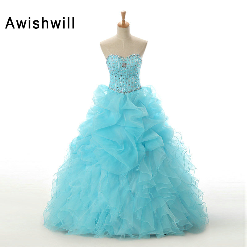 Real Photo Beading Crystal Ruffles Skirt Baby Blue Color Quinceanera Dresses For Girl Sweet 16 Ball Gowns Vestido Debutante