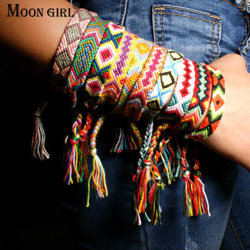 ירח ילדה ברזיל Boho קלוע צמידי ידידות נשים בוהמי Handweave כותנה חבל זול קסם אתני Pulseras Dropship