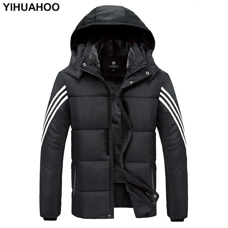 YIHUAHOO Winter Jacket Men 7XL 8XL 9XL Thick Cotton Warm   Parka   Coat Casual Faux Fur Hooded Fleece Male Jacket Windbreaker Men