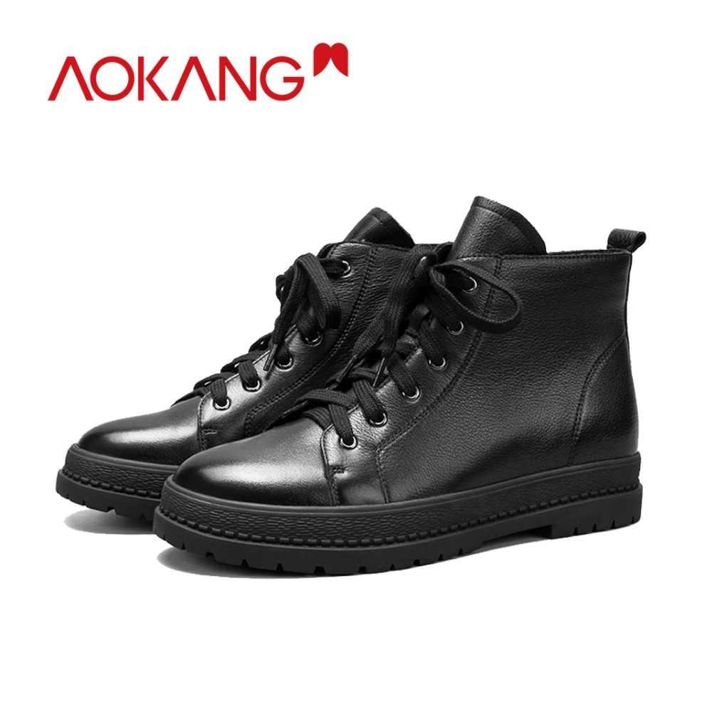 77ba8ff69 ... AOKANG/2018 Осенняя обувь, женские ботинки из натуральной кожи, женские  ботинки, увеличивающие ...