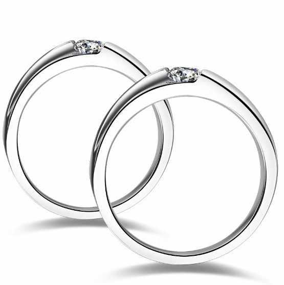 0.5CT populaire NSCD belles bagues en diamant pour les vrais anneaux de Couple en argent Sterling 925 plaqué platine pour l'engagement