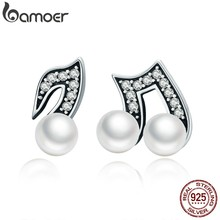 BAMOER 100% 925 Sterling Silver Hiphop Style Melody Small Stud Earrings for Women Clear CZ Luxury Silver Jewelry Brincos SCE201(China)