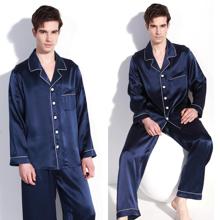 Good Quality 100% Pure Silk Men's Pajama Set Sleepwear Nightgown L XL 2XL YM009