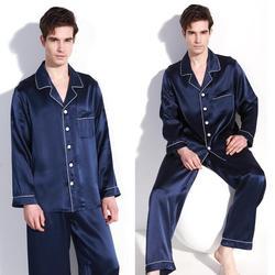 Хорошее качество, 100% чистый шелк, мужской пижамный комплект, одежда для сна, ночная рубашка L XL 2XL YM009