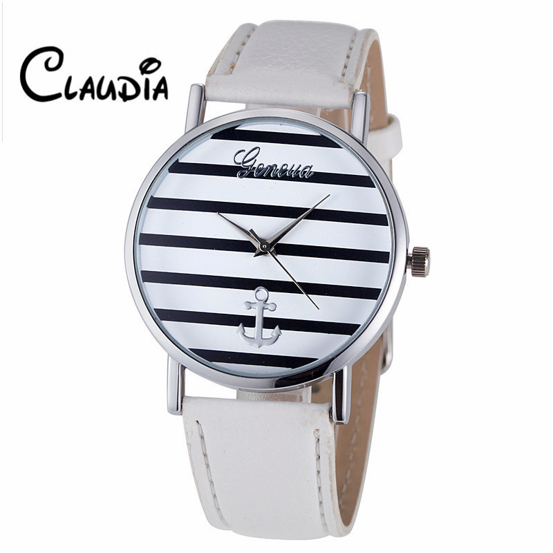 New Arrival Fashion relojes mujer Women Striped Anchor Analog Leather Quartz Wrist Watch Watches Dropship Relogio Feminino hot unique women watches crystal leather bracelet quartz wrist watch mujer relojes horloge femmes relogio drop shipping f25