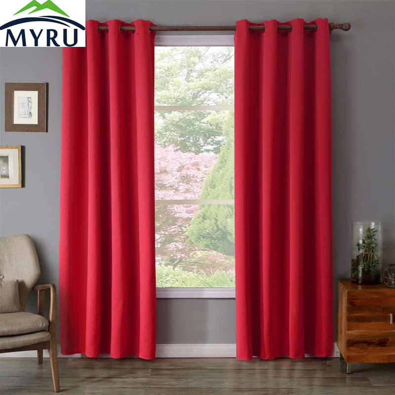 Bedroom Curtains Solid Color Japan Window Shades Imitation: MYRU 100% Polyester Red Color Dyed Window Curtains Solid