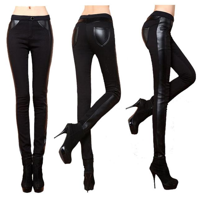 Novo 2016 Mulheres Plus Size Calças de Couro Patchwork Lápis Pant Leggings Inverno Quente Cintura Alta das Calças Pretas para As Mulheres calças