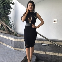 Christmas Vestidos New Arrivals Women Bodycon Dress 2017 Sexy Bandage Party Dress Lace-up Hollow Out Black Bandage Dress