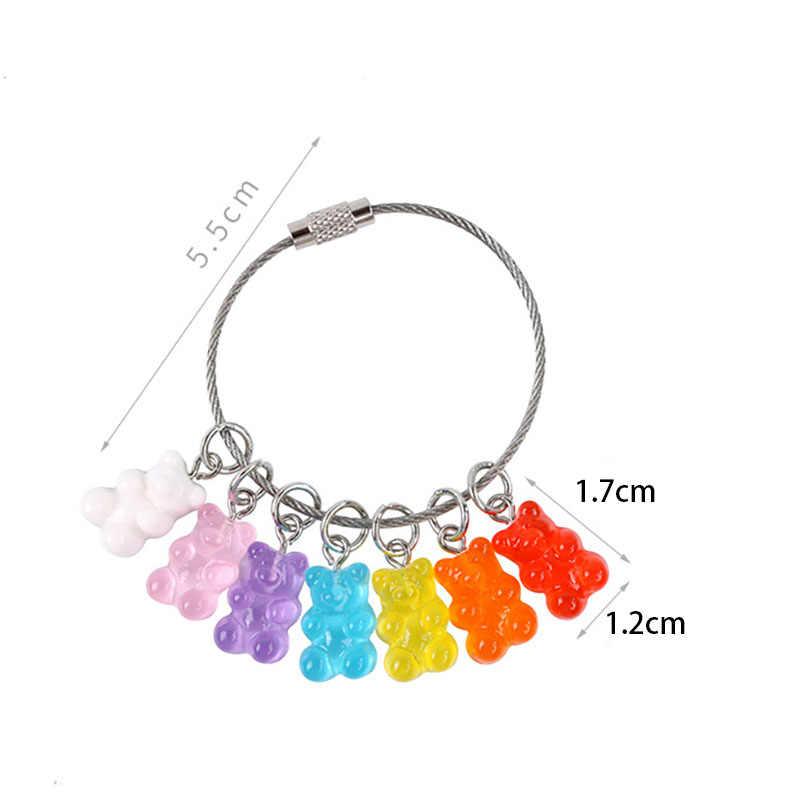 חדש טרנדי צבעים בוהקים חמוד דוב Cartoon Keychain בעלי החיים מפתח טבעת תכשיטי עבור נשים בנות רכב תיק מפתח שרשרות מתנות