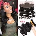 Перуанский Объемная Волна С Уха До Уха Закрытие Али мода Волосы объемная Волна Вьющиеся Перуанский Девы Волос 3 Связки С Фронтальной Аман волос
