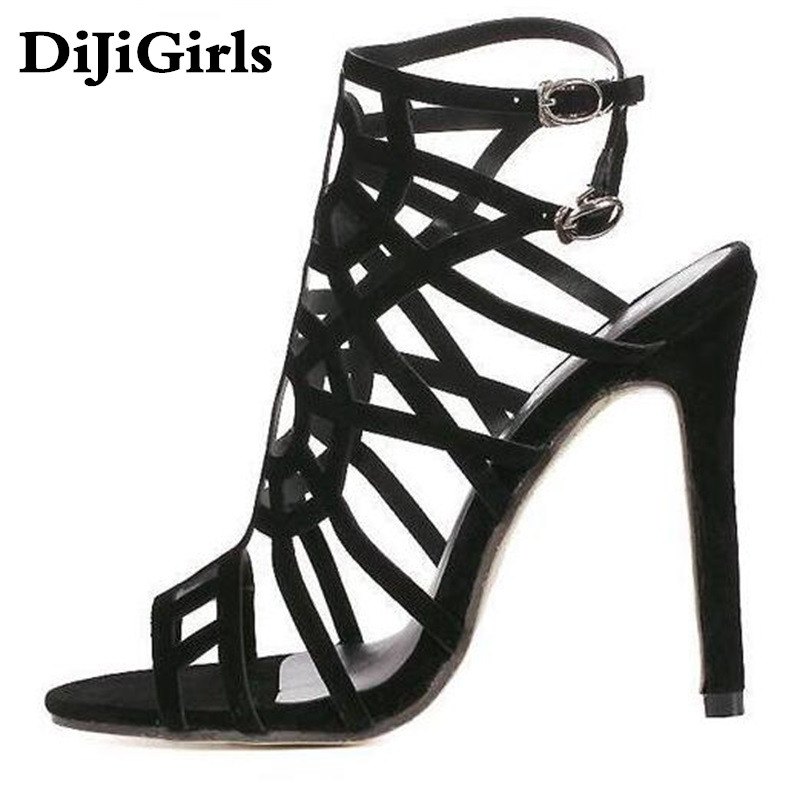 DiJiGirls Brand Designer High Heels Cut Outs Lace Up Open Toe Party sandals Woman Gladiator Sandals Women Ladies Zapatos Mujer women sandals brand designer gladiator high heels sexy open toe cut outs women shoes lace up shoes woman pumps sandalias mujer