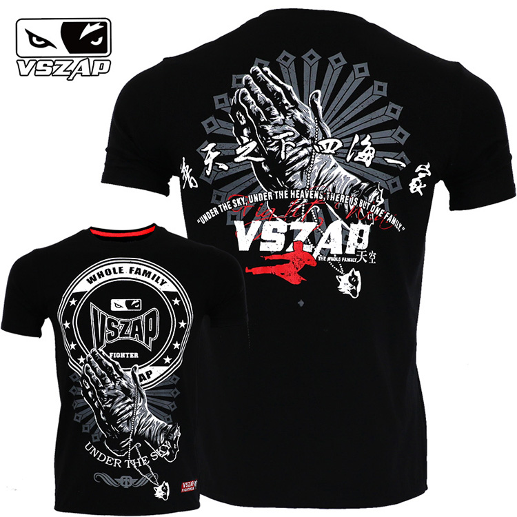 VSZAP Fight Short Sleeve T-shirt Sport Free Combat Fitness Training Jeet Kune Do Bruce Lee MMA Kung Fu Muay Thai Fighting