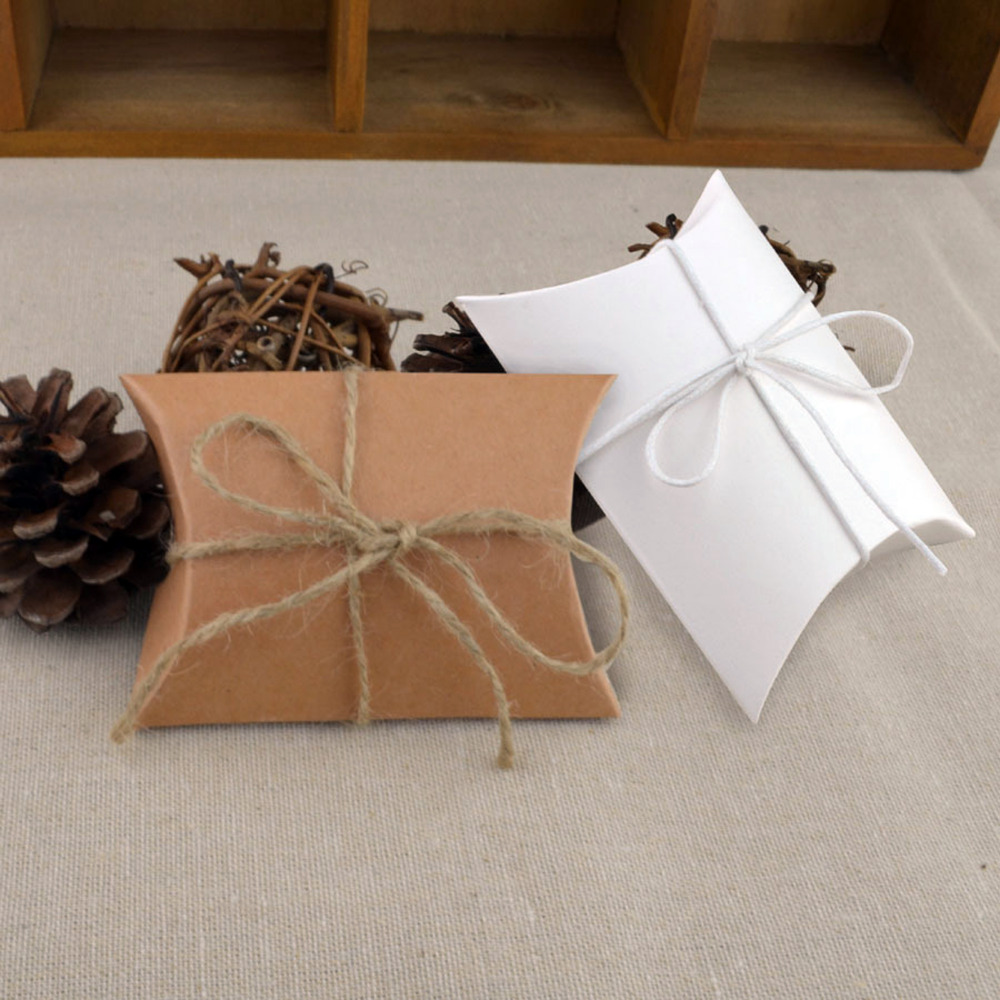 Gift Boxes For Weddings: New Style 10pcs/lot Wedding Gift Boxes Kraft Pillow Shape