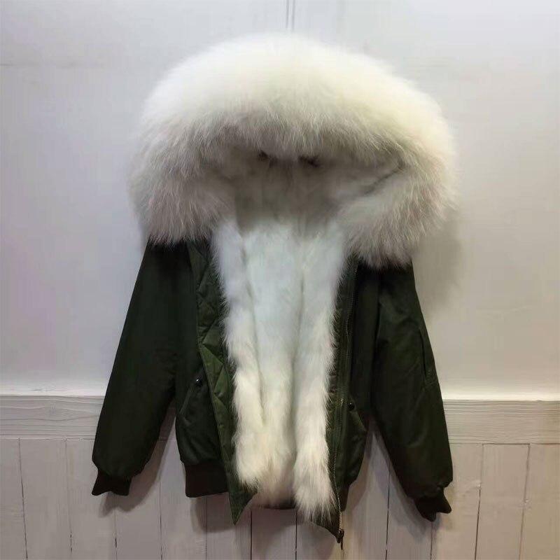 Nueva alta moda popular estilo invierno chaqueta bombardero zorro Pieles de animales forro chaqueta de bombardero espesar Pieles de animales