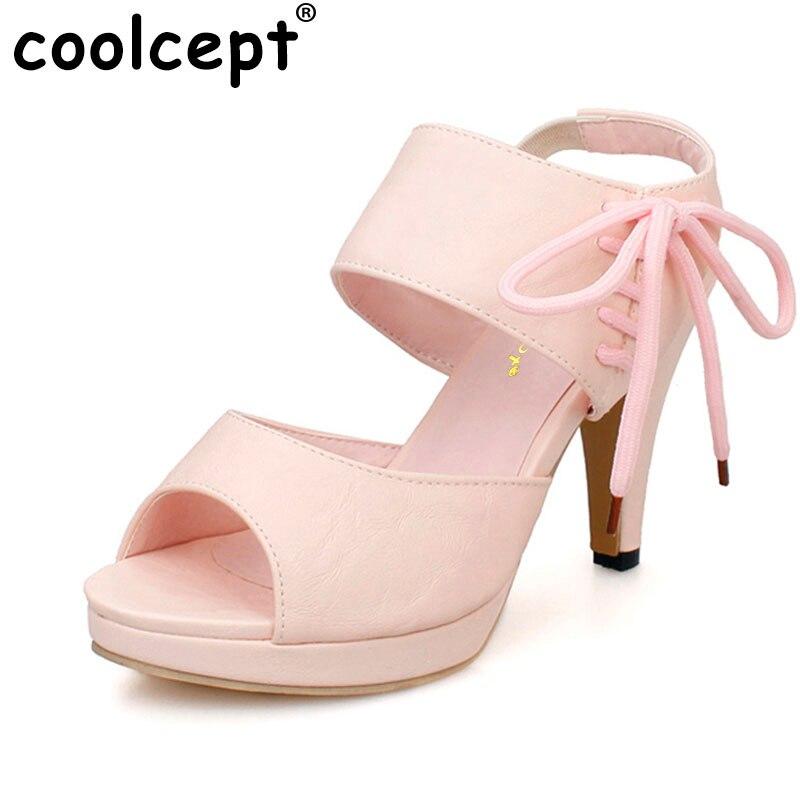 5b17e15a0 Coolcept Размеры 31-43 женские сандалии на высоком каблуке с ...