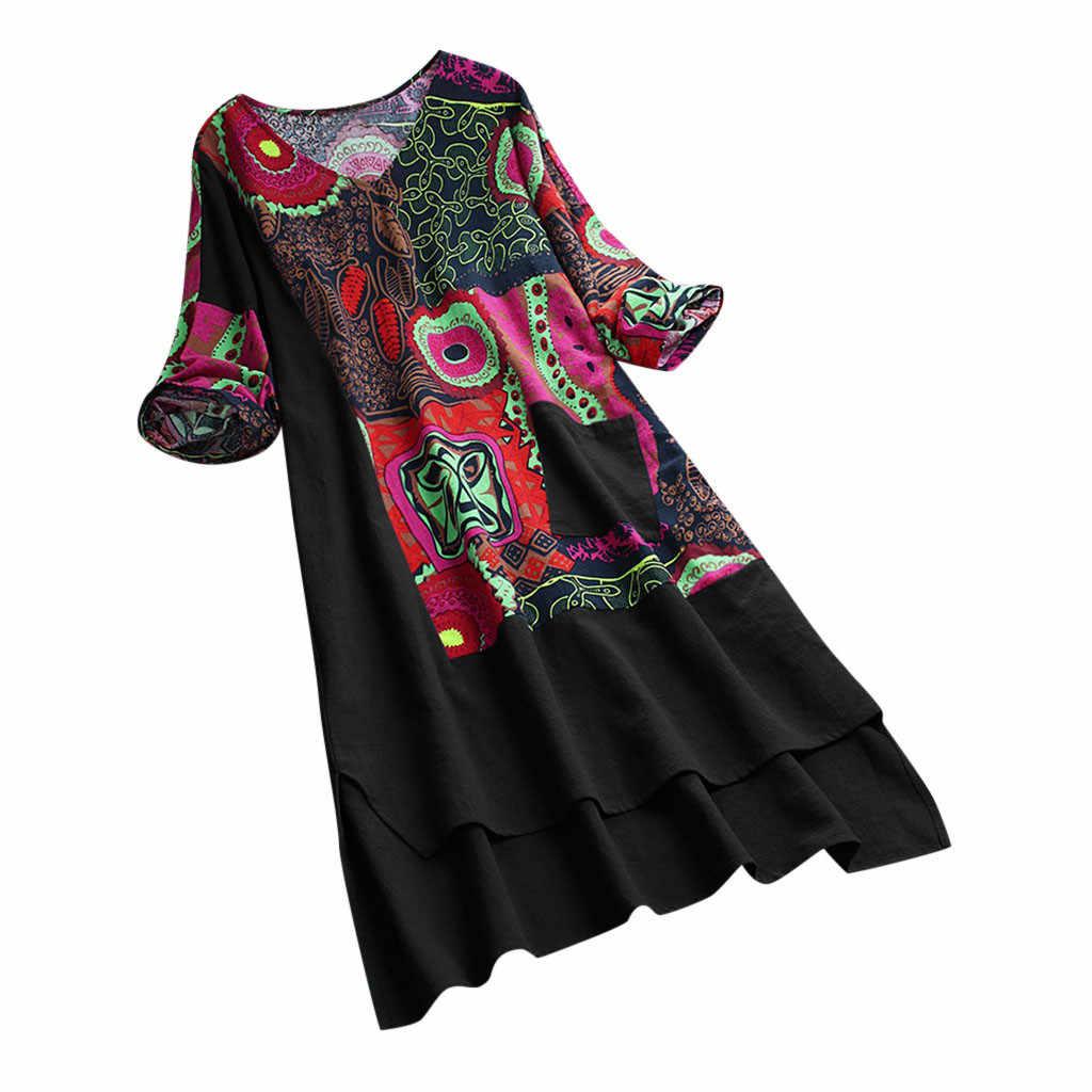 Modna damska sukienka dekolt w stylu Vintage patchworkowa sukienka wysoka niska lamówka Boho drukuj pół rękawy kieszeń плацие sukienka darmowa wysyłka D4
