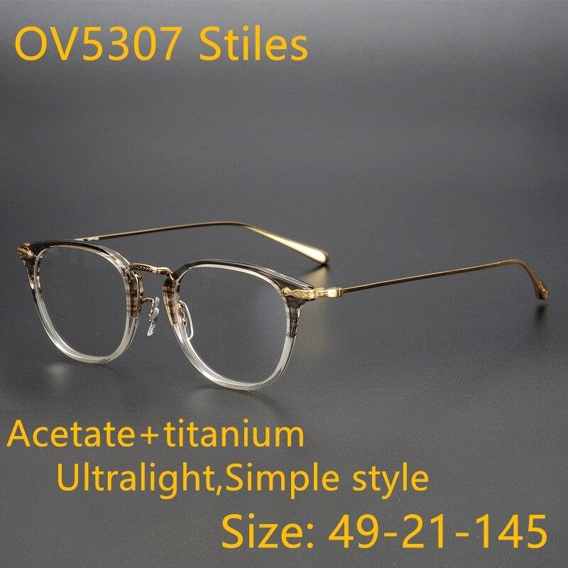 OV5307 Stiles NEW High quality Ultralight pure titanium vintage optical frame eyeglasses eyewear women men Myopia original logo