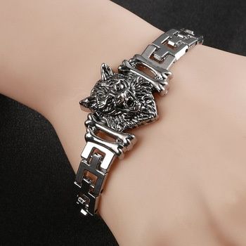 New Arrival Men Stainless Steel Bracelet Bangle Punk Men Jewelry Accessories Male Leopard Wolf Head Charm Wristband pulseira